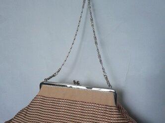 サーモンピンク・交織織り半幅帯・横長がま口バッグの画像