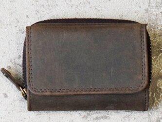 オールレザーで仕上げたコンパクトなミニ財布 【ブラウン】 名入れできますの画像