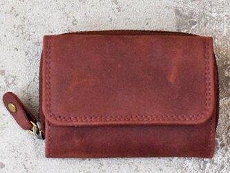 オールレザーで仕上げたコンパクトなミニ財布 【ワインレッド】 名入れできますの画像