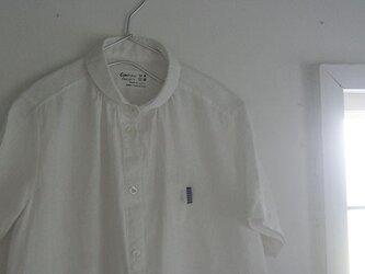 丸襟半袖ワンピース:白の画像