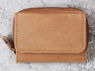 オールレザーで仕上げたコンパクトなミニ財布 【キャメル】 名入れできますの画像