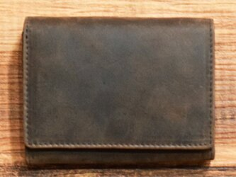 オールレザーで仕上げたシンプルで上質な二つ折り財布 【ブラウン】 名入れできますの画像