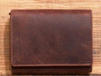オールレザーで仕上げたシンプルで上質な二つ折り財布 【ワインレッド】 名入れできますの画像