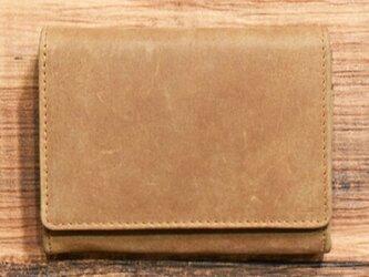オールレザーで仕上げたシンプルで上質な二つ折り財布 【キャメル】 名入れできますの画像