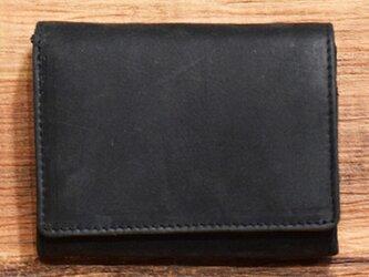 オールレザーで仕上げたシンプルで上質な二つ折り財布 【ブラック】 名入れできますの画像