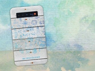【モバイルバッテリー】錨・帆船・コンパス・貝殻・灯台 海をイメージするイラスト for iPhone&Androidの画像