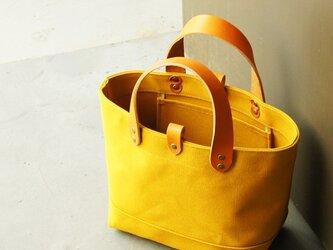 革の持ち手の6号帆布のトートバッグ~マスタード~の画像