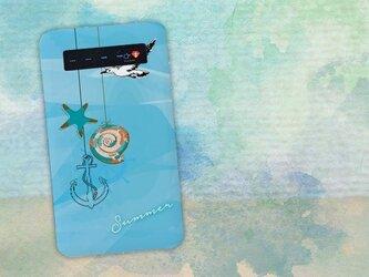 【モバイルバッテリー】夏の日 貝殻 ヒトデ 錨 カモメ for iPhone&Androidの画像