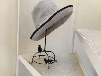 パイピング亜麻色 リネン キャプリーヌ帽子 オーダー 50〜65cmの画像