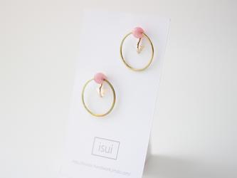 door knock jade [pink rose] イヤリング の画像
