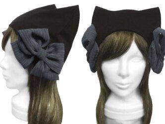 リボン飾り/ネコ耳帽子(ゆったり)◆コットンニット/ブラックの画像