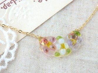 (受注制作)ガラスのキラキラ・小花さん*ネックレスpink&purpleの画像