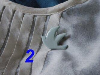 陶ブローチ-水色の鳥2の画像