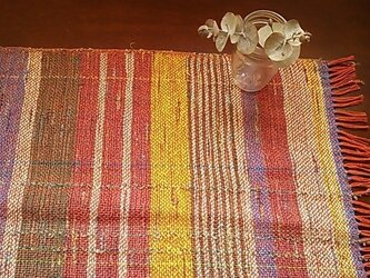 *手織り* プレイスマット 橙ストライプの画像