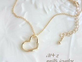 送料無料◆オープンハート~gold heart~ネックレス (ゴールド色)の画像
