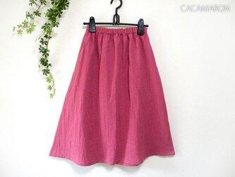 着丈が選べる綿麻ギャザースカート ローズピンク 【受注】の画像