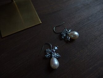 【silver925】アンティーク風 淡水パールピアスの画像