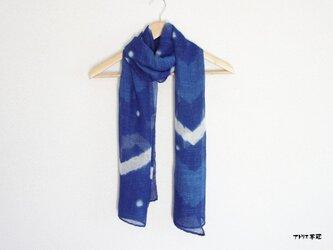 藍染絞りストール*シェブロン柄の画像