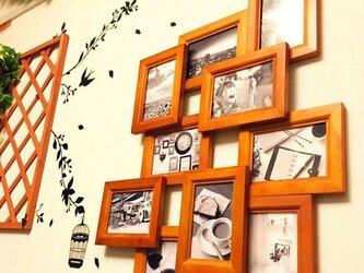 木目調 デザインフォトフレームの画像