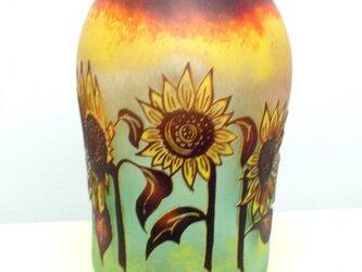 ひまわり文花瓶の画像
