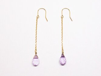 K18+アメシストブリオレットロングピアス【Pio by Parakee】amethyst brioletteの画像