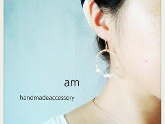 14kgf 【jewelry series】ラウンドフープ×マザーオブパール ピアス/イヤリングの画像