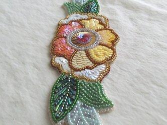 【ビーズ刺繍】牡丹の和風ブレスレットの画像