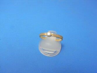 K18艶消し平打ち ダイヤモンドリングの画像