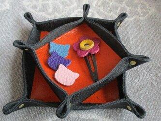 【新作】ミニトレイ 中小2個セット エコな床革利用の画像