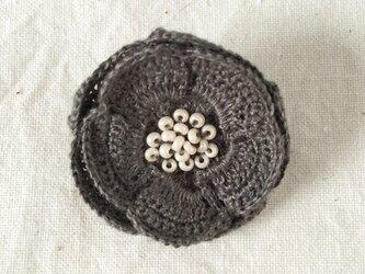 flower brooch C - ダークグレーの画像
