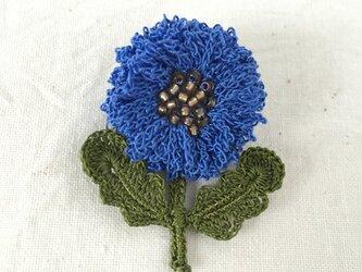 flower brooch B - コバルトブルーの画像