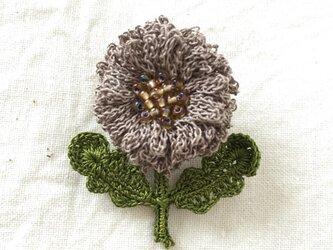 flower brooch B - チャコールグレーの画像