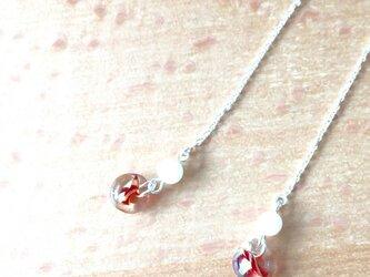 ガラス チェーンピアス (red) Silver 925 no.2の画像