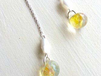 ガラス チェーンピアス (yellow) Silver 925 no.3の画像