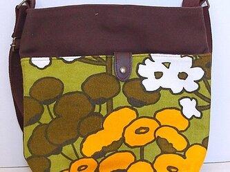 ヴィンテージファブリック x 帆布 レトロな斜め掛けショルダーバッグ(Cotton Field)の画像