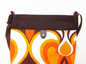 ヴィンテージファブリック x 帆布 レトロな斜め掛けショルダーバッグ(Cocoa Orange)の画像