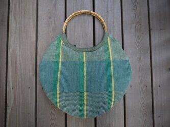 裂き織り丸型バッグ NO1の画像