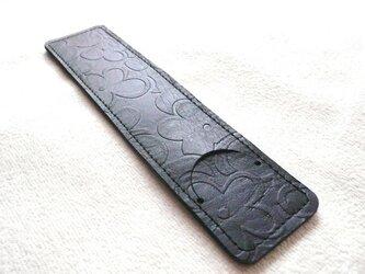 シンプルな革ペンケース、かぎ針ケース(北欧モダン花柄)の画像
