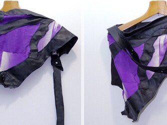 JIN  BAT STOLE  * 川の流れ 紫着物&羊革 + 爪部は牛革の画像