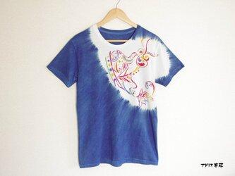藍染絞りステンシルTシャツ*印の画像
