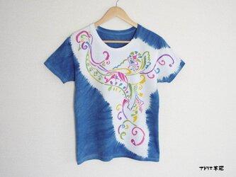 藍染絞りステンシルTシャツ*鳥の画像