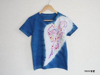 藍染絞りステンシルTシャツ*ハートの画像