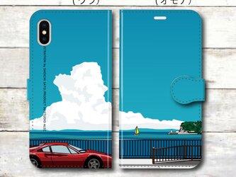 湘南イラスト・スマホケース(手帳型)iPhone&Android対応 湘南の海岸線を走るフェラーリのイラスト♪の画像