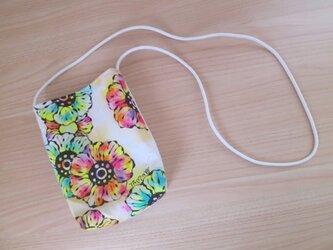 【訳アリSALE価格】帆布のミニポシェット 02(花柄×紫小花柄)の画像