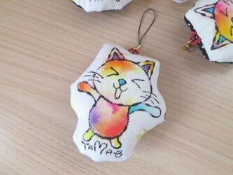 『猫のダニエル』ストラップ 04(帆布+黒×白ドット柄)の画像