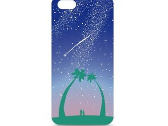 星空とヤシの木のイラスト・スマホケース(ハードケース型)iPhone&Android対応「星降る夜に願いはひとつ」の画像