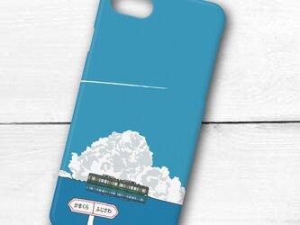 江ノ電イラスト・スマホケース(ハードケース型)iPhone&Android対応 海の上を走るファンタジックな江ノ電のイラストの画像