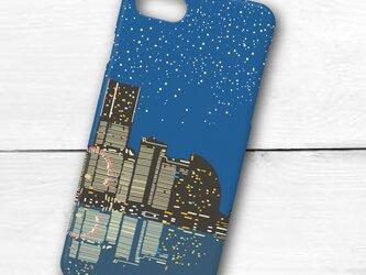 横浜イラスト・スマホケース(ハードケース型)iPhone&Android対応 横浜「みなとみらい」の夜景のイラスト♪の画像