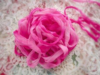 **♥Silk Chiffon Sari Ribbon Lotus Pink Ombre *Fair Trade*♥**の画像