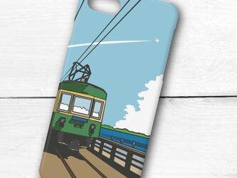 江ノ電イラスト・スマホケース(ハードケース型)iPhone&Android対応 七里ヶ浜の海岸線を走る300形江ノ電のイラスト♪の画像